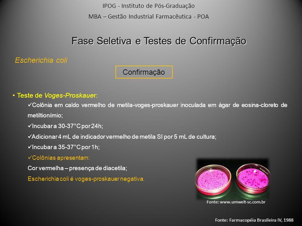 IPOG - Instituto de Pós-Graduação MBA – Gestão Industrial Farmacêutica - POA Escherichia coli Confirmação Fase Seletiva e Testes de Confirmação Teste