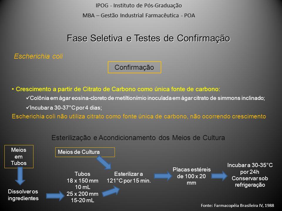 IPOG - Instituto de Pós-Graduação MBA – Gestão Industrial Farmacêutica - POA Escherichia coli Fase Seletiva e Testes de Confirmação Confirmação Cresci