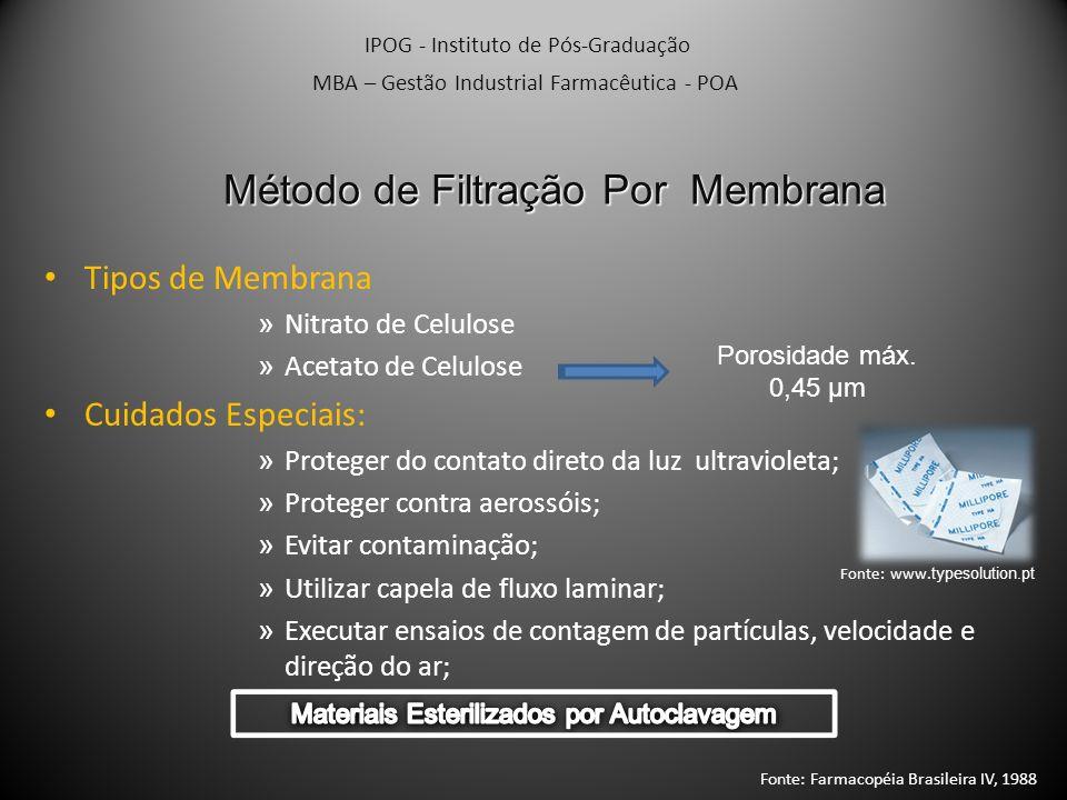 Método IPOG - Instituto de Pós-Graduação MBA – Gestão Industrial Farmacêutica - POA Amostra de 10 mL ou diluição que represente 1g Filtrar imediatamente Membrana De Nitrato de Celulose Lavar as Membranas 3 vezes (100 mL de Líquido Estéril) 1º Membrana Placa de Petry com Meio I Ágar Caseína-Soja 2º Membrana Placa de Petry com Meio II Ágar Sabouraud-Dextrose Incubar 4 dias (30-35°C)Incubar 7 dias (20-25°C) Calcular o n° de Microrganismos por mL ou g de amostra Fonte: Farmacopéia Brasileira IV, 1988 Fonte: www.