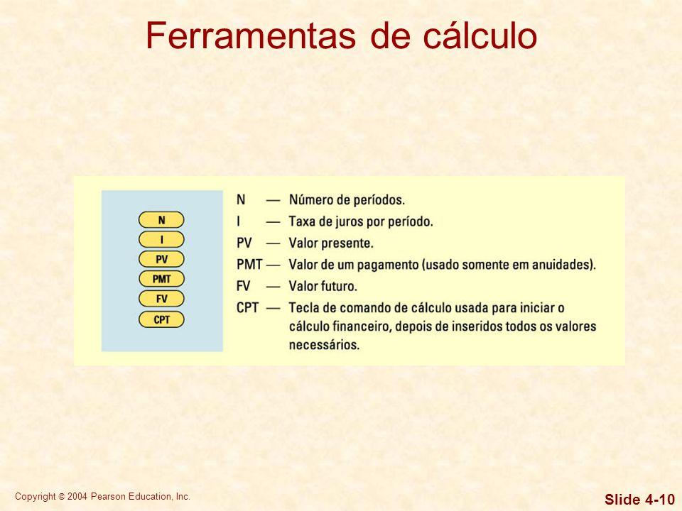 Copyright © 2004 Pearson Education, Inc. Slide 4-9 Ferramentas de cálculo