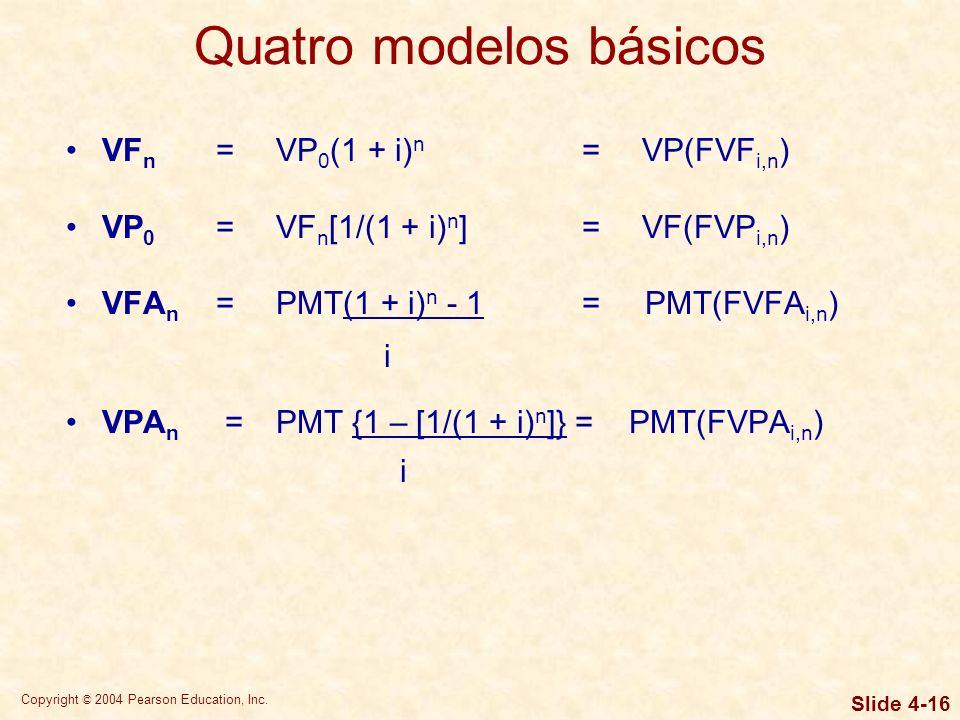 Copyright © 2004 Pearson Education, Inc. Slide 4-15 Terminologia de valor de dinheiro no tempo VP 0 =valor presente ou inicial i= taxa de juros VF n =