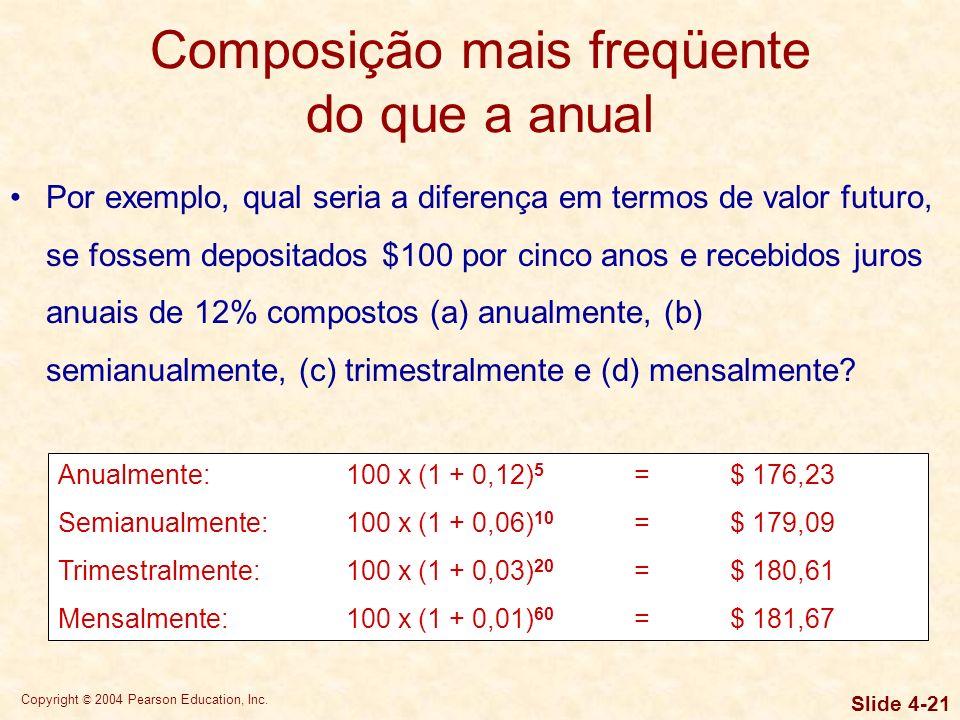 Copyright © 2004 Pearson Education, Inc. Slide 4-20 Composição mais freqüente do que a anual A composição com freqüência maior do que uma vez por ano
