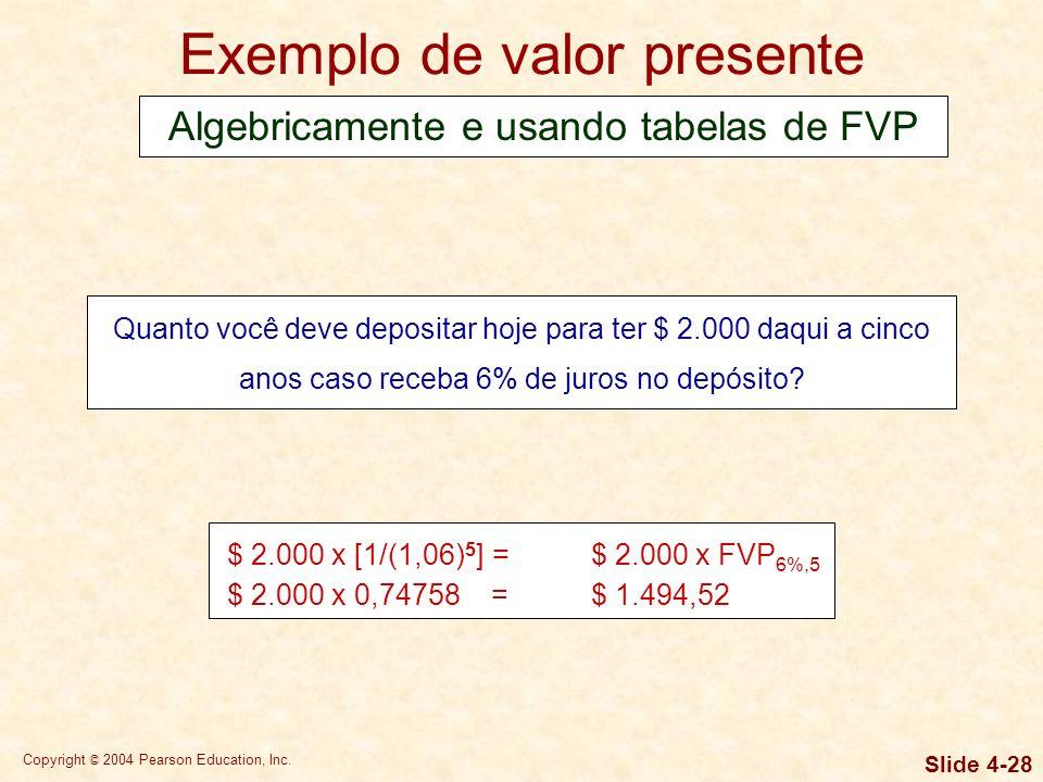 Copyright © 2004 Pearson Education, Inc. Slide 4-27 Valor presente Valor presente é o valor monetário corrente de uma quantia futura. Baseia-se na idé