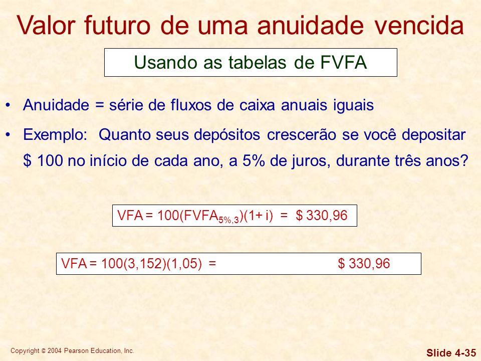 Copyright © 2004 Pearson Education, Inc. Slide 4-34 Anuidade = série de fluxos de caixa anuais iguais Exemplo: Quanto seus depósitos crescerão se você