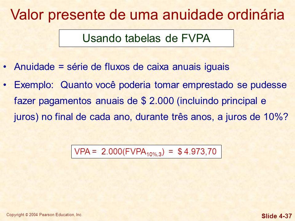 Copyright © 2004 Pearson Education, Inc. Slide 4-36 Valor futuro de uma anuidade vencida Anuidade = série de fluxos de caixa anuais iguais Exemplo: Qu