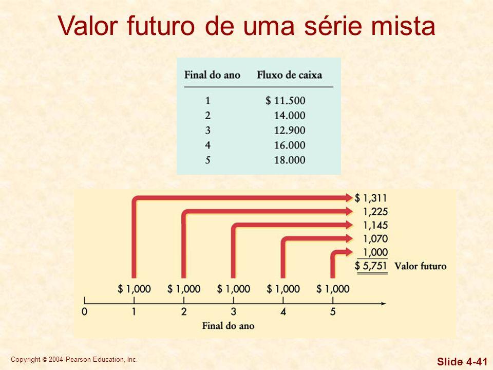 Copyright © 2004 Pearson Education, Inc. Slide 4-40 Valor presente de uma série mista Uma série mista de fluxos de caixa não possui nenhum padrão espe