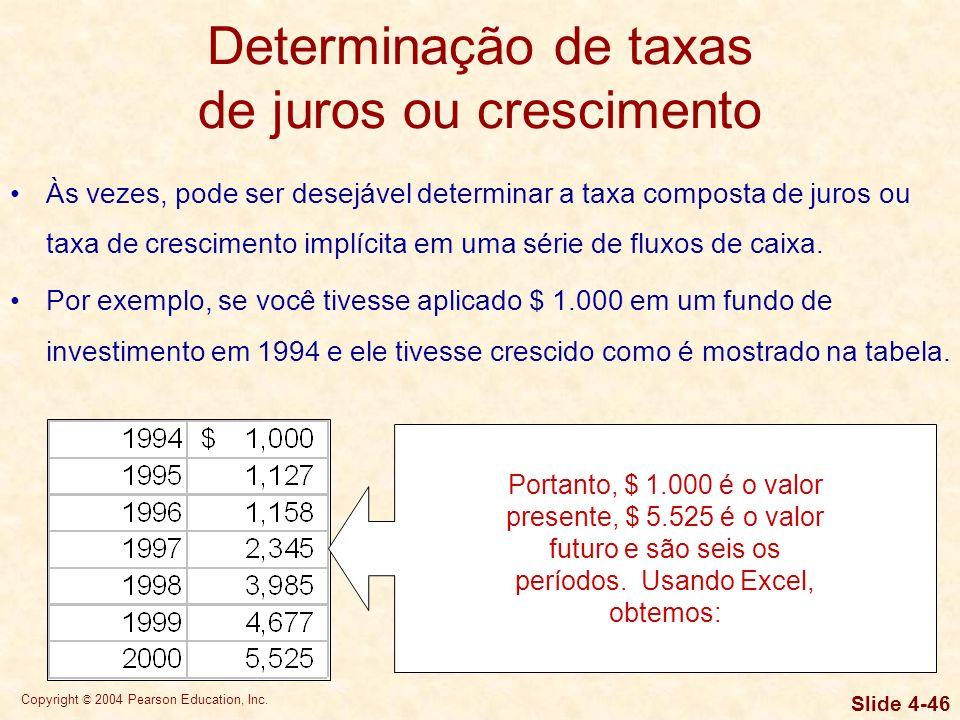Copyright © 2004 Pearson Education, Inc. Slide 4-45 Determinação de taxas de juros ou crescimento Às vezes, pode ser desejável determinar a taxa compo
