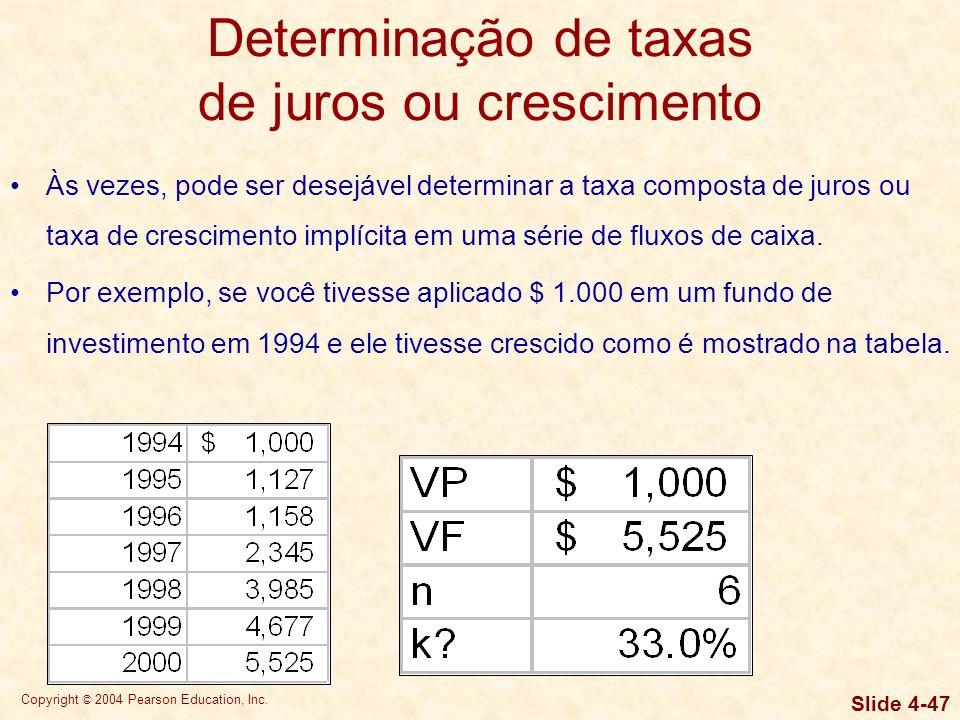 Copyright © 2004 Pearson Education, Inc. Slide 4-46 Determinação de taxas de juros ou crescimento Às vezes, pode ser desejável determinar a taxa compo