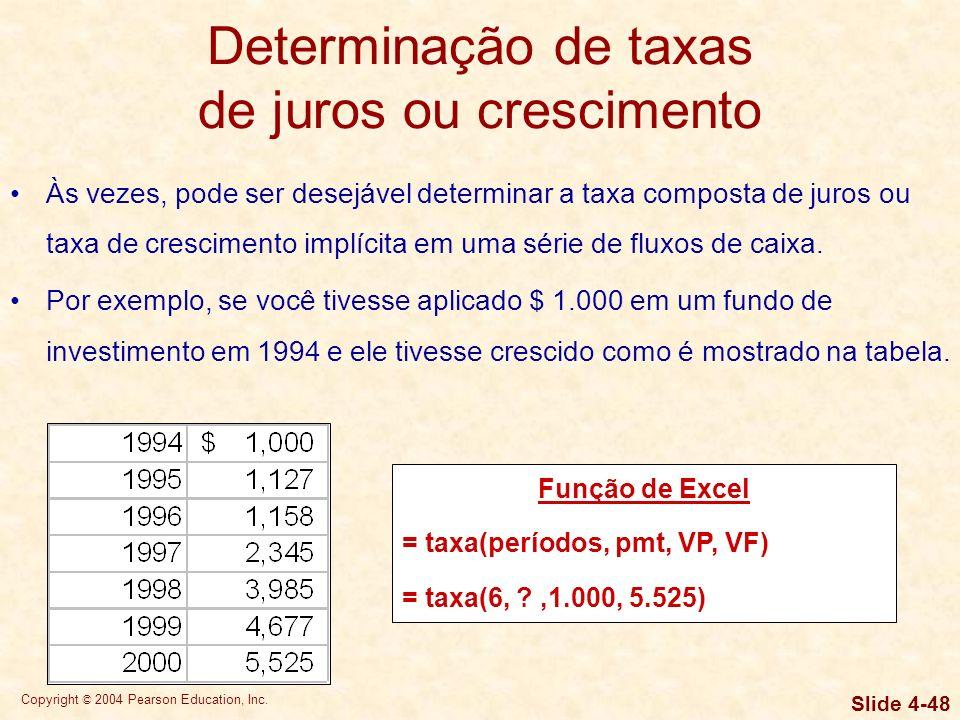 Copyright © 2004 Pearson Education, Inc. Slide 4-47 Determinação de taxas de juros ou crescimento Às vezes, pode ser desejável determinar a taxa compo