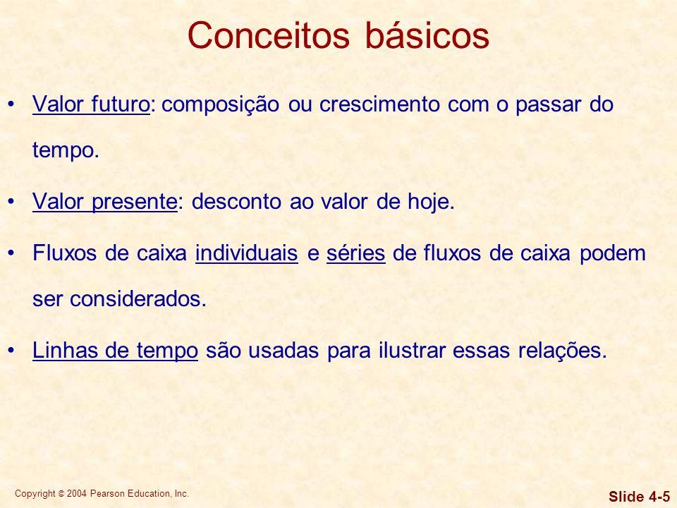 Copyright © 2004 Pearson Education, Inc. Slide 4-4 Resposta: Depende da taxa de juros. O papel do valor do dinheiro no tempo em finanças A maioria das