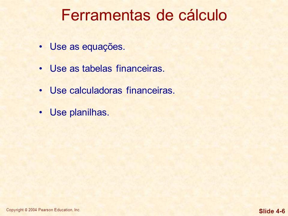 Copyright © 2004 Pearson Education, Inc. Slide 4-5 Conceitos básicos Valor futuro: composição ou crescimento com o passar do tempo. Valor presente: de