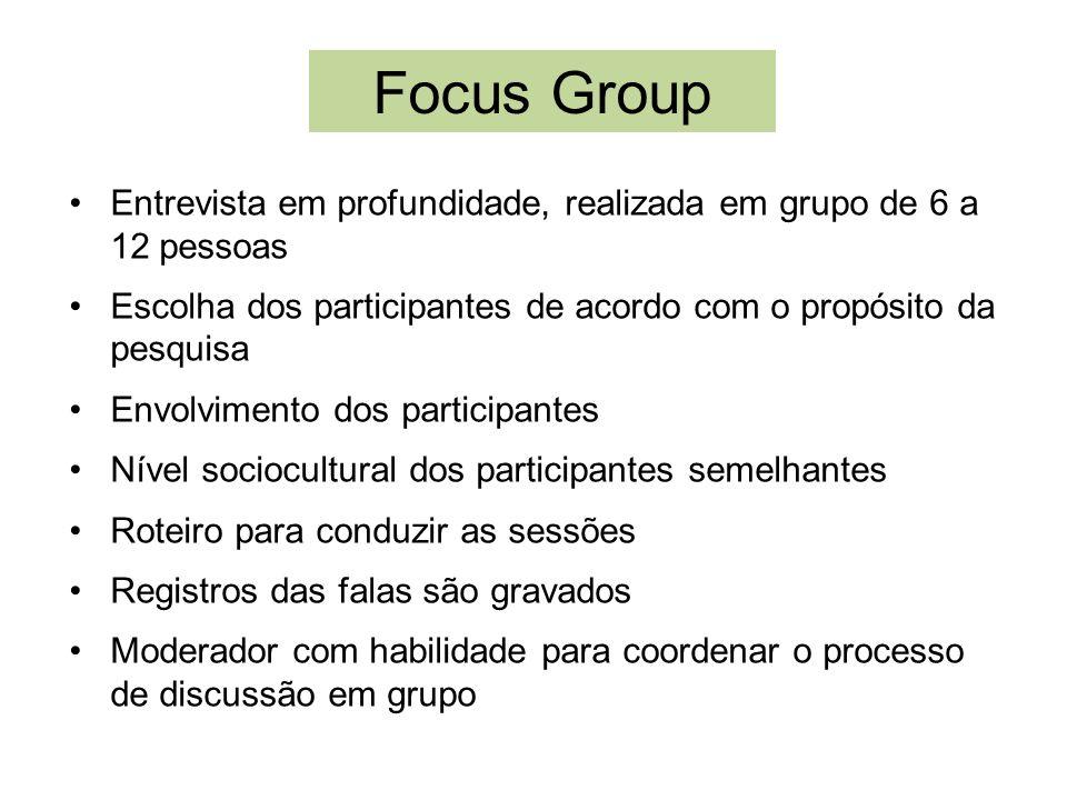 Focus Group Entrevista em profundidade, realizada em grupo de 6 a 12 pessoas Escolha dos participantes de acordo com o propósito da pesquisa Envolvime