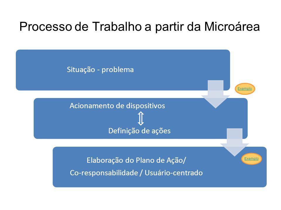 Processo de Trabalho a partir da Microárea Situação - problema Acionamento de dispositivos Definição de ações Elaboração do Plano de Ação/ Co-responsa