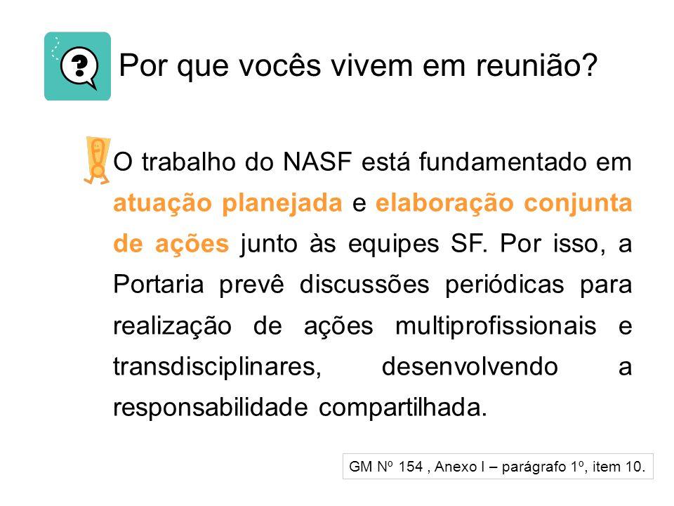 Por que vocês vivem em reunião? O trabalho do NASF está fundamentado em atuação planejada e elaboração conjunta de ações junto às equipes SF. Por isso