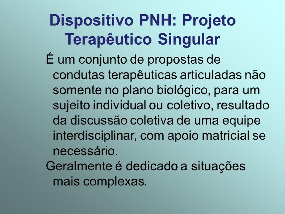 Dispositivo PNH: Projeto Terapêutico Singular É um conjunto de propostas de condutas terapêuticas articuladas não somente no plano biológico, para um