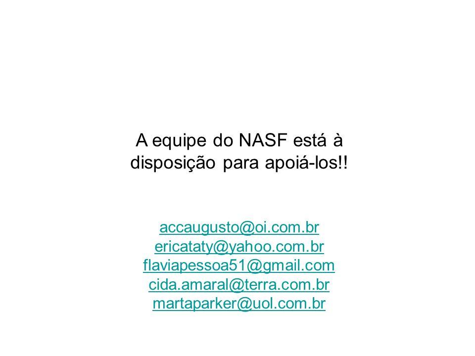 A equipe do NASF está à disposição para apoiá-los!! accaugusto@oi.com.br ericataty@yahoo.com.br flaviapessoa51@gmail.com cida.amaral@terra.com.br mart