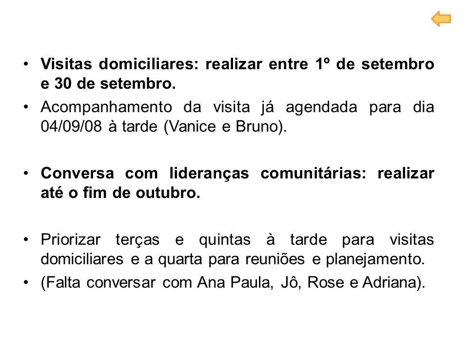 Visitas domiciliares: realizar entre 1º de setembro e 30 de setembro. Acompanhamento da visita já agendada para dia 04/09/08 à tarde (Vanice e Bruno).