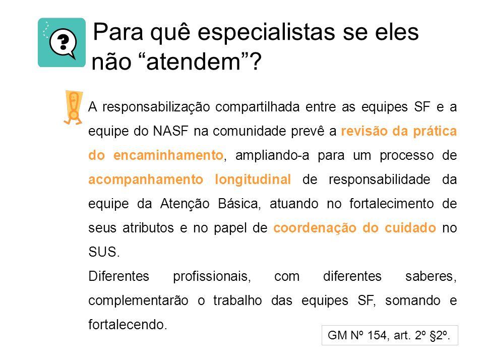 Para quê especialistas se eles não atendem? A responsabilização compartilhada entre as equipes SF e a equipe do NASF na comunidade prevê a revisão da