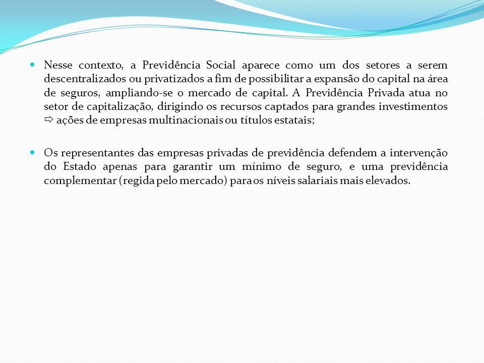 Nesse contexto, a Previdência Social aparece como um dos setores a serem descentralizados ou privatizados a fim de possibilitar a expansão do capital