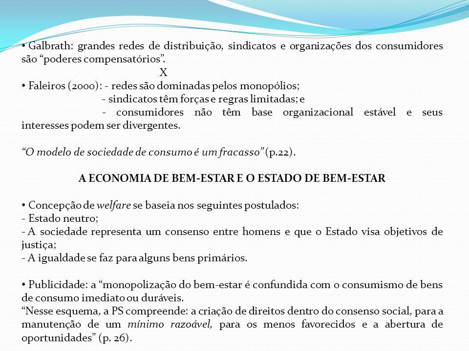 Galbrath: grandes redes de distribuição, sindicatos e organizações dos consumidores são poderes compensatórios. X Faleiros (2000): - redes são dominad