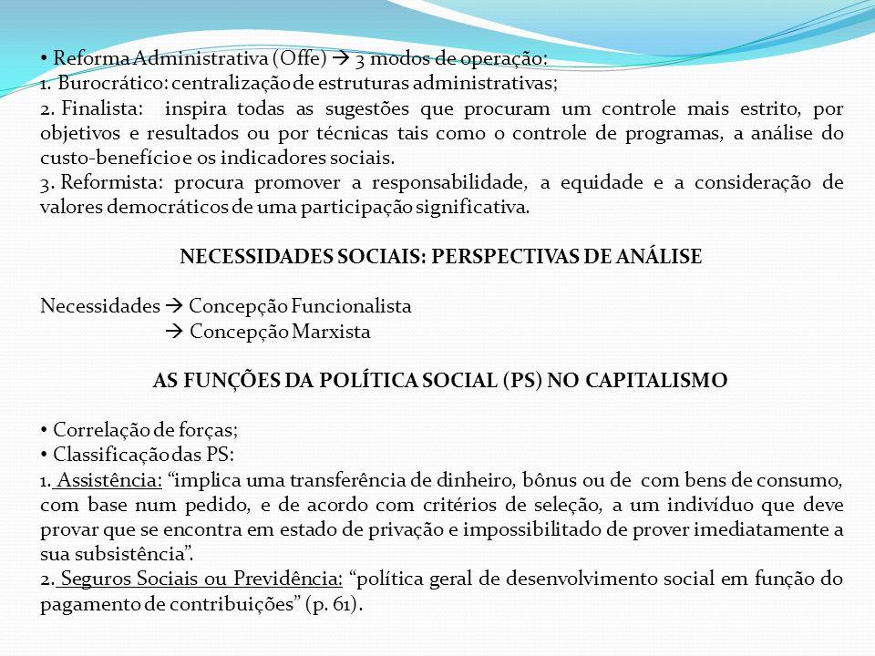 Reforma Administrativa (Offe) 3 modos de operação: 1. 1. Burocrático: centralização de estruturas administrativas; 2. 2. Finalista: inspira todas as s