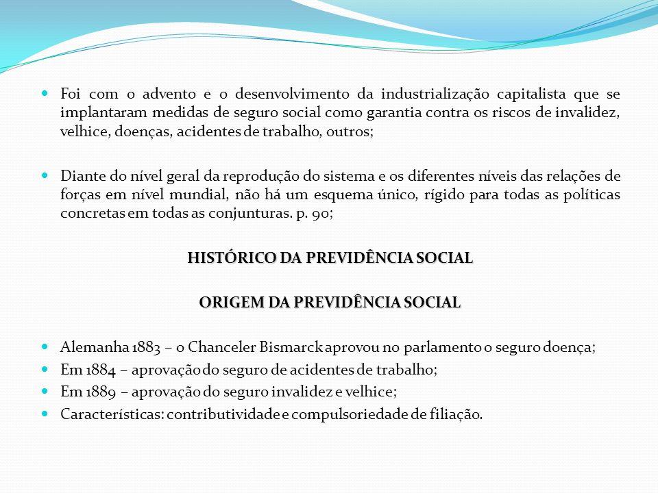 Foi com o advento e o desenvolvimento da industrialização capitalista que se implantaram medidas de seguro social como garantia contra os riscos de in