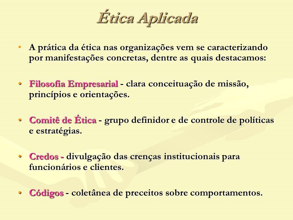 Ética Aplicada A prática da ética nas organizações vem se caracterizando por manifestações concretas, dentre as quais destacamos:A prática da ética na