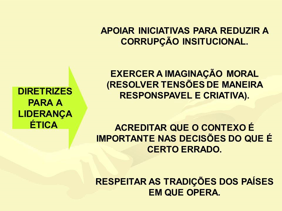 DIRETRIZES PARA A LIDERANÇA ÉTICA APOIAR INICIATIVAS PARA REDUZIR A CORRUPÇÃO INSITUCIONAL. EXERCER A IMAGINAÇÃO MORAL (RESOLVER TENSÕES DE MANEIRA RE