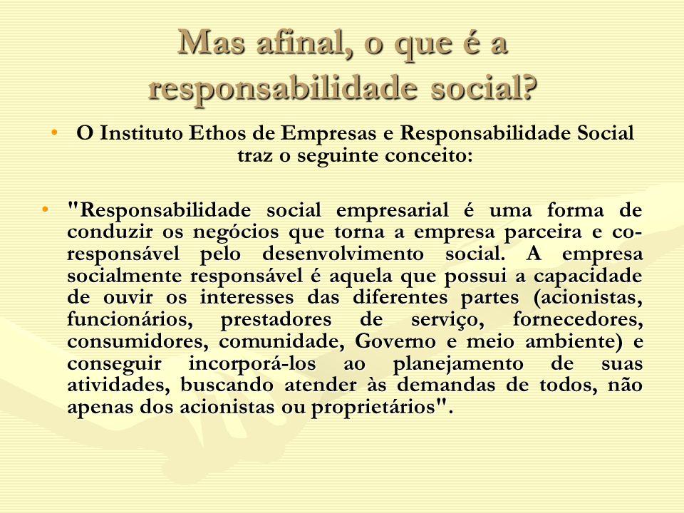 Mas afinal, o que é a responsabilidade social? O Instituto Ethos de Empresas e Responsabilidade Social traz o seguinte conceito: