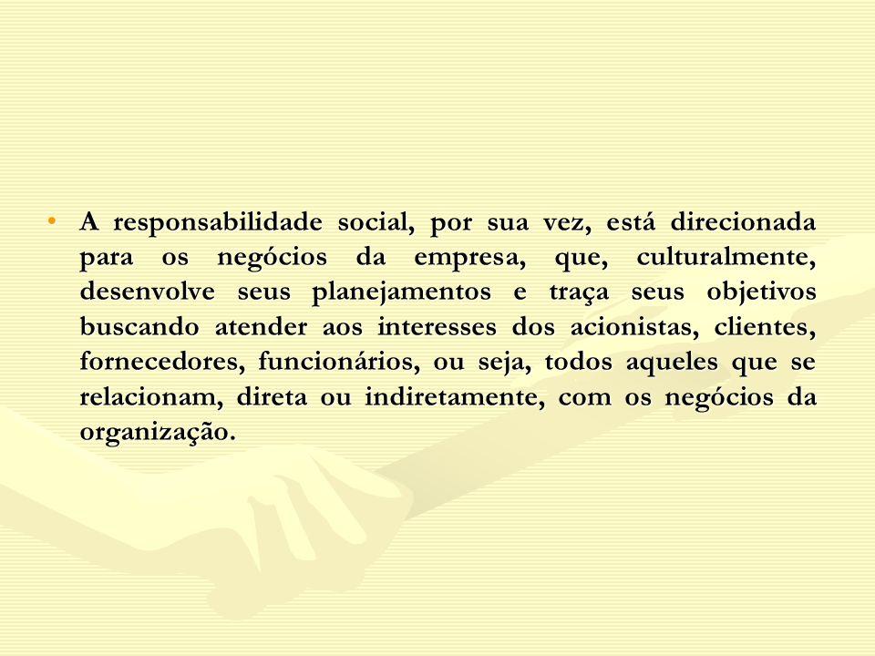 A responsabilidade social, por sua vez, está direcionada para os negócios da empresa, que, culturalmente, desenvolve seus planejamentos e traça seus o