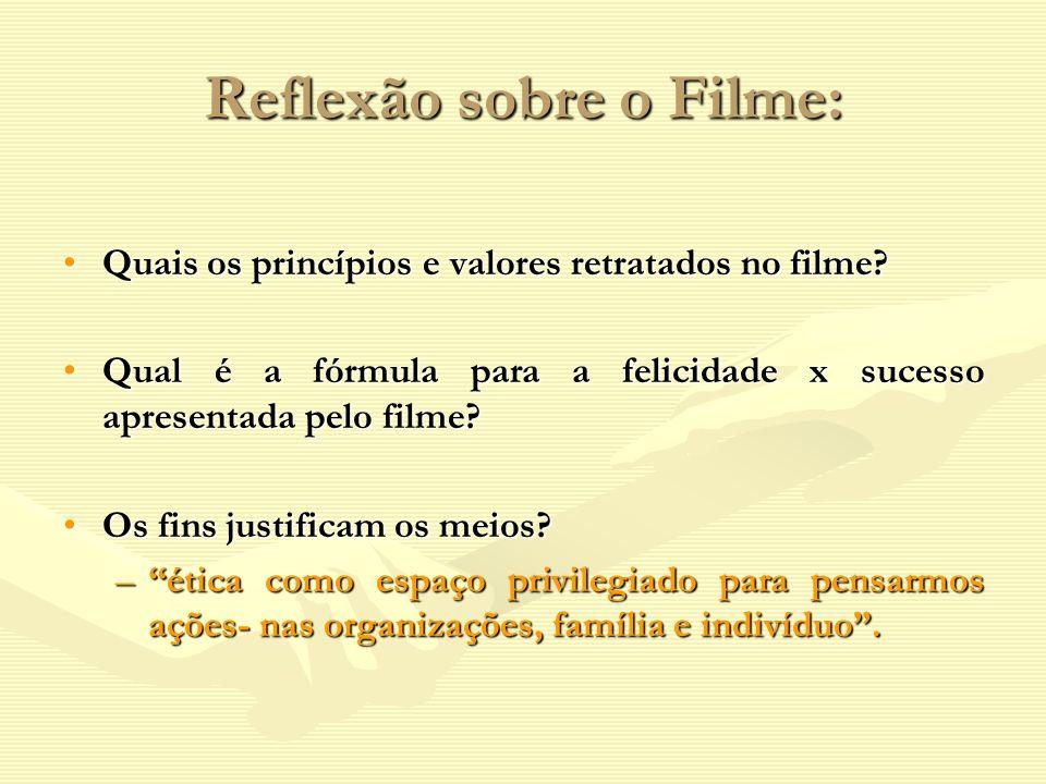 Reflexão sobre o Filme: Quais os princípios e valores retratados no filme?Quais os princípios e valores retratados no filme? Qual é a fórmula para a f
