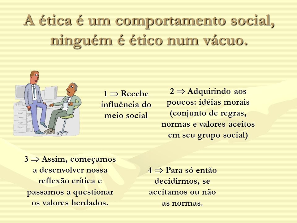 A ética é um comportamento social, ninguém é ético num vácuo. 1 Recebe influência do meio social 2 Adquirindo aos poucos: idéias morais (conjunto de r