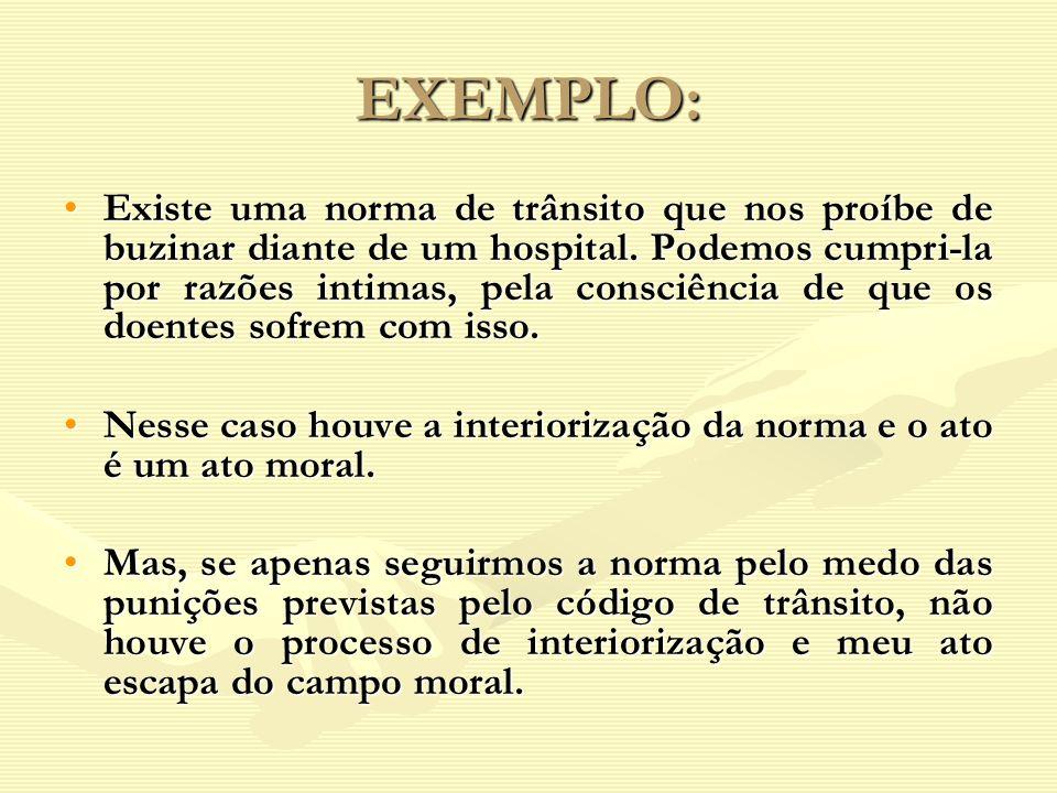 EXEMPLO: Existe uma norma de trânsito que nos proíbe de buzinar diante de um hospital. Podemos cumpri-la por razões intimas, pela consciência de que o