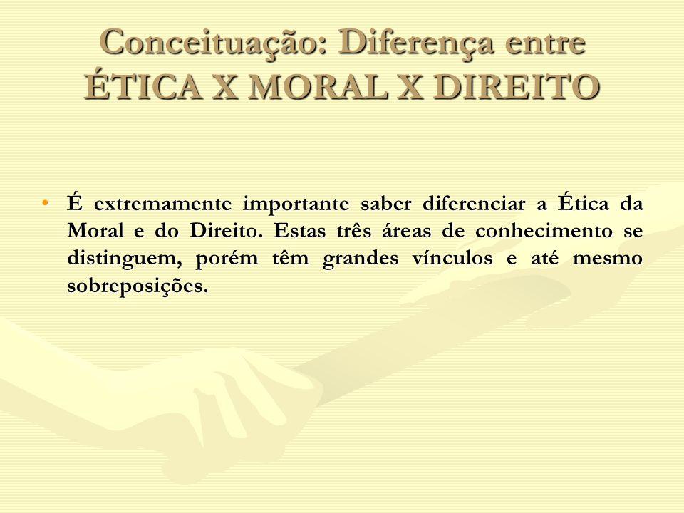 Conceituação: Diferença entre ÉTICA X MORAL X DIREITO É extremamente importante saber diferenciar a Ética da Moral e do Direito. Estas três áreas de c