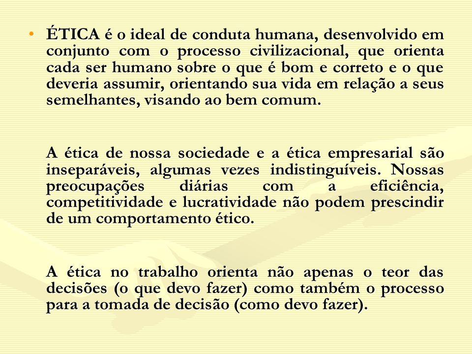 ÉTICA é o ideal de conduta humana, desenvolvido em conjunto com o processo civilizacional, que orienta cada ser humano sobre o que é bom e correto e o