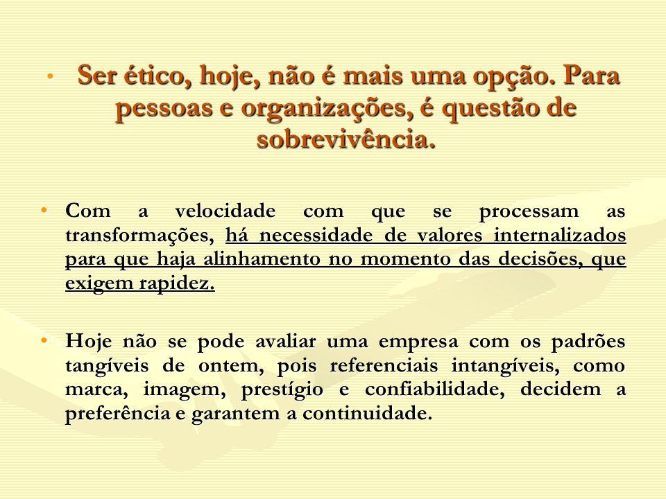 Ser ético, hoje, não é mais uma opção. Para pessoas e organizações, é questão de sobrevivência. Ser ético, hoje, não é mais uma opção. Para pessoas e