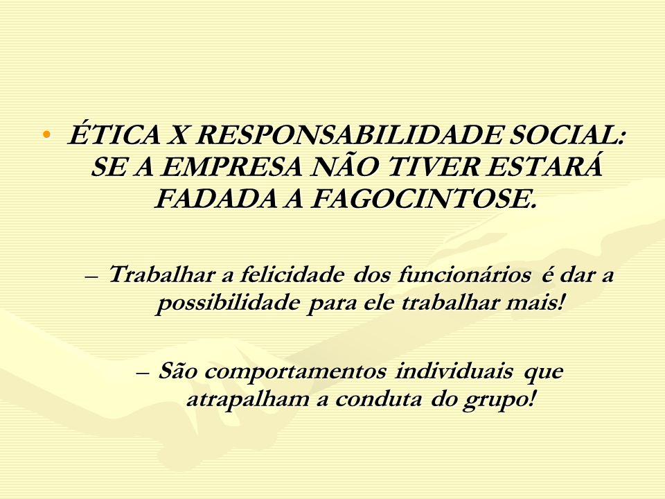 ÉTICA X RESPONSABILIDADE SOCIAL: SE A EMPRESA NÃO TIVER ESTARÁ FADADA A FAGOCINTOSE.ÉTICA X RESPONSABILIDADE SOCIAL: SE A EMPRESA NÃO TIVER ESTARÁ FAD