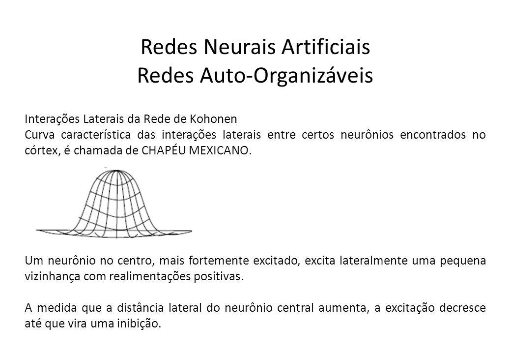 Redes Neurais Artificiais Redes Auto-Organizáveis Interações Laterais da Rede de Kohonen Curva característica das interações laterais entre certos neu
