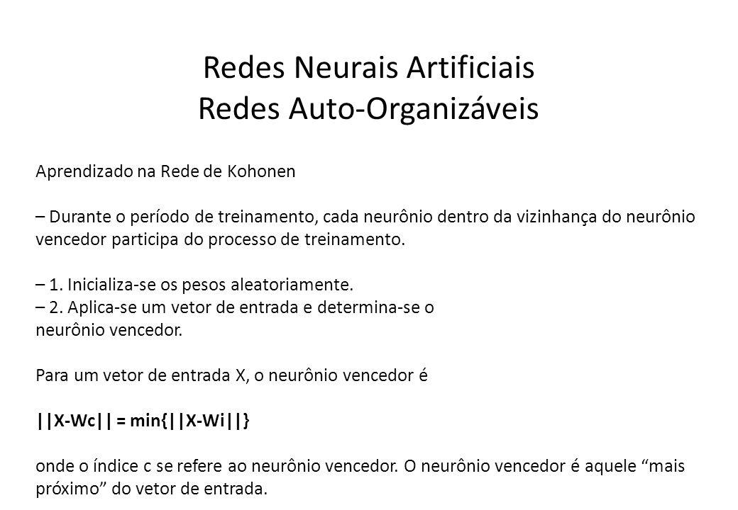 Redes Neurais Artificiais Redes Auto-Organizáveis Aprendizado na Rede de Kohonen – Durante o período de treinamento, cada neurônio dentro da vizinhanç