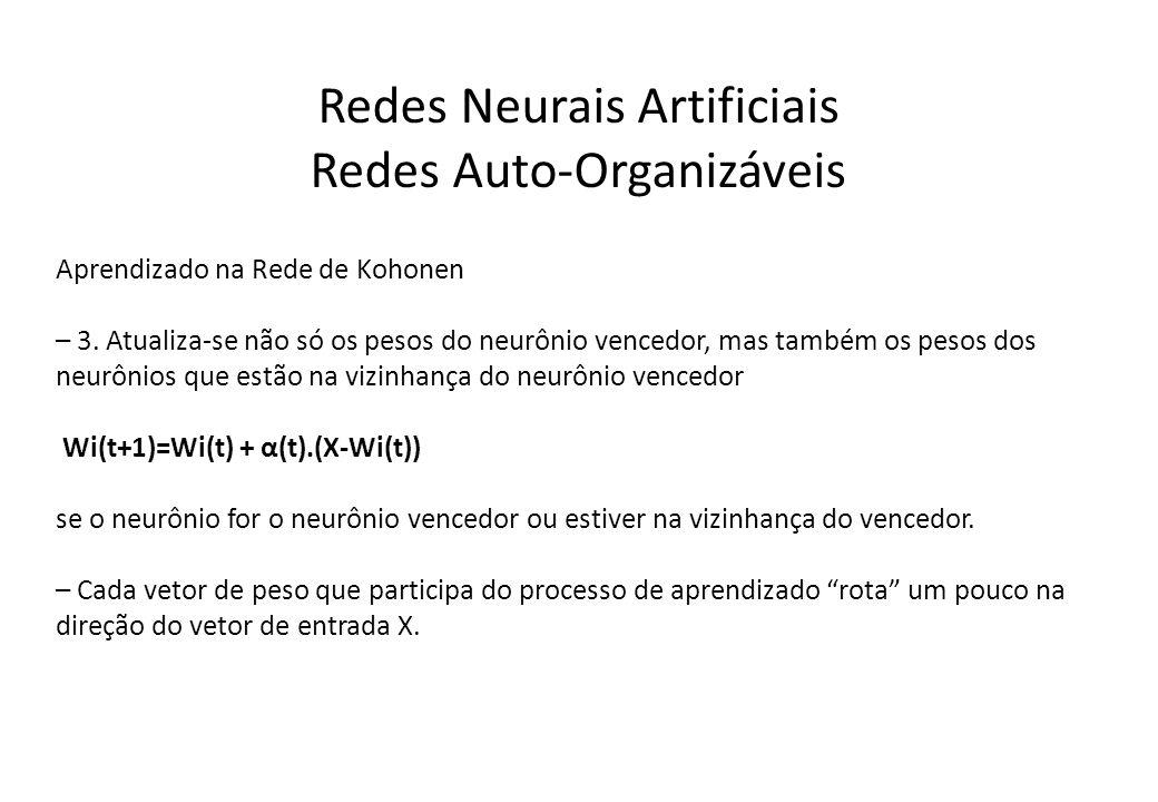 Redes Neurais Artificiais Redes Auto-Organizáveis Aprendizado na Rede de Kohonen – 3. Atualiza-se não só os pesos do neurônio vencedor, mas também os
