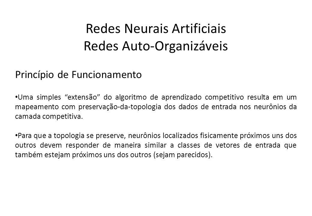 Redes Neurais Artificiais Redes Auto-Organizáveis Princípio de Funcionamento Uma simples extensão do algoritmo de aprendizado competitivo resulta em u