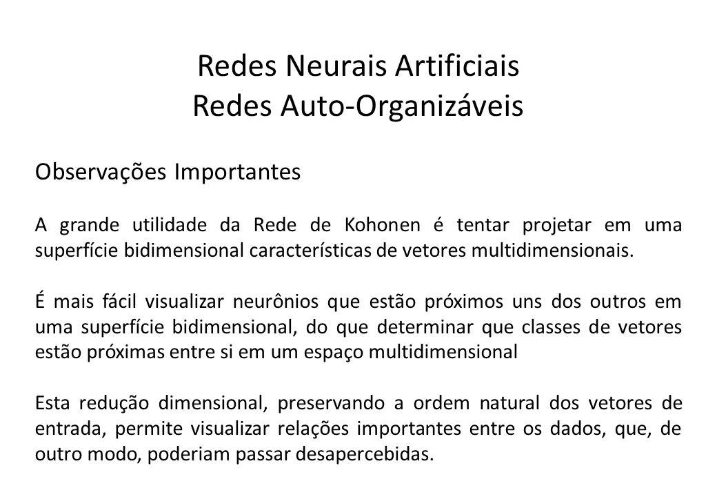 Redes Neurais Artificiais Redes Auto-Organizáveis Observações Importantes A grande utilidade da Rede de Kohonen é tentar projetar em uma superfície bi