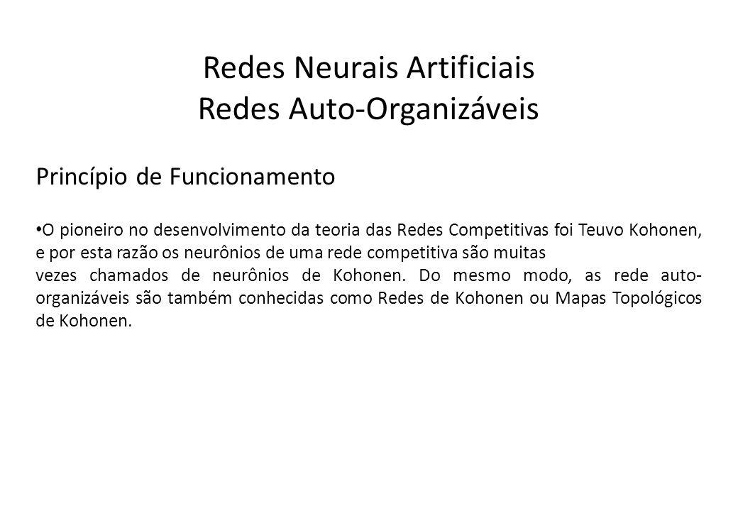 Redes Neurais Artificiais Redes Auto-Organizáveis Princípio de Funcionamento O pioneiro no desenvolvimento da teoria das Redes Competitivas foi Teuvo