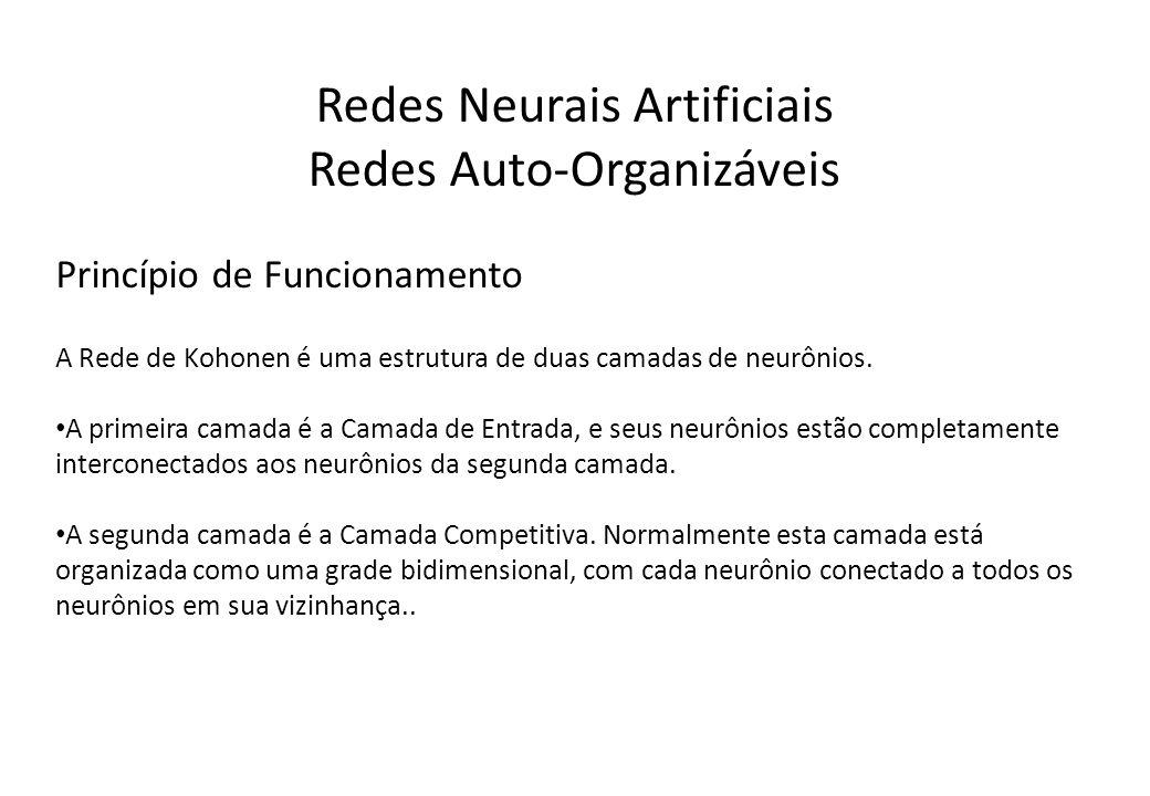 Redes Neurais Artificiais Redes Auto-Organizáveis Princípio de Funcionamento A Rede de Kohonen é uma estrutura de duas camadas de neurônios. A primeir