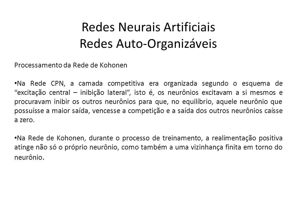 Redes Neurais Artificiais Redes Auto-Organizáveis Processamento da Rede de Kohonen Na Rede CPN, a camada competitiva era organizada segundo o esquema