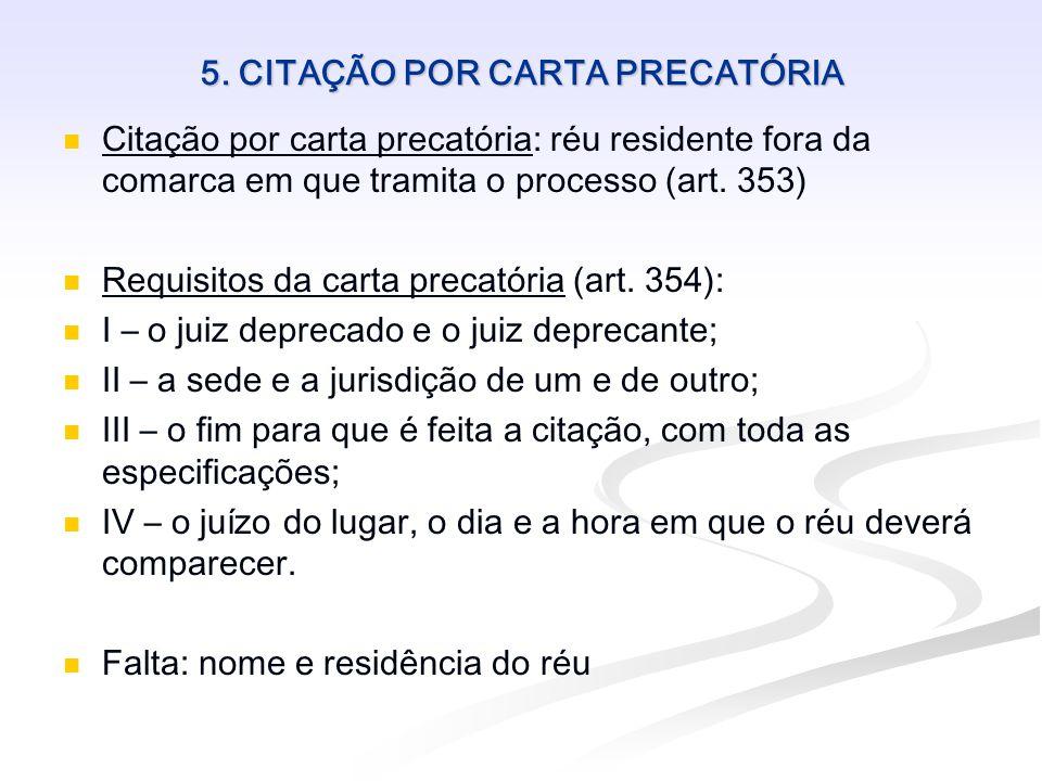 5. CITAÇÃO POR CARTA PRECATÓRIA Citação por carta precatória: réu residente fora da comarca em que tramita o processo (art. 353) Requisitos da carta p