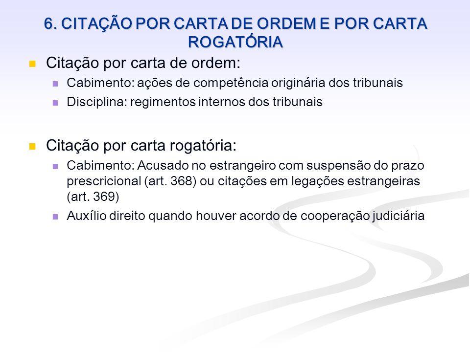 6. CITAÇÃO POR CARTA DE ORDEM E POR CARTA ROGATÓRIA Citação por carta de ordem: Cabimento: ações de competência originária dos tribunais Disciplina: r