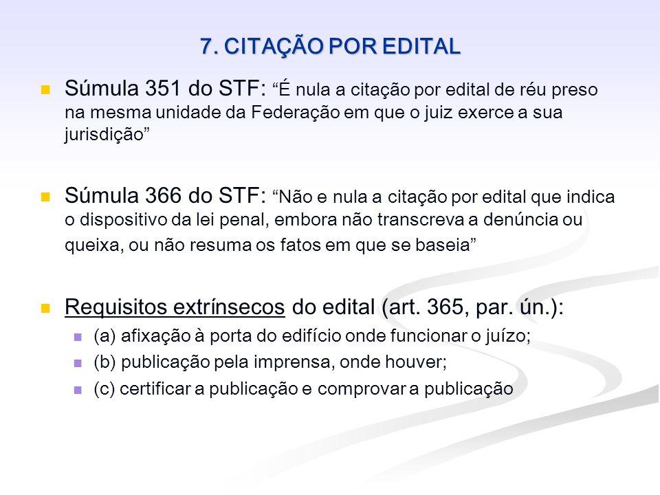 7. CITAÇÃO POR EDITAL Súmula 351 do STF: É nula a citação por edital de réu preso na mesma unidade da Federação em que o juiz exerce a sua jurisdição