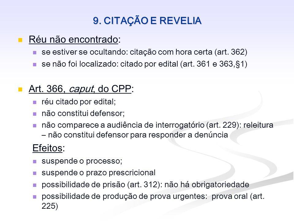 9. CITAÇÃO E REVELIA Réu não encontrado: se estiver se ocultando: citação com hora certa (art. 362) se não foi localizado: citado por edital (art. 361