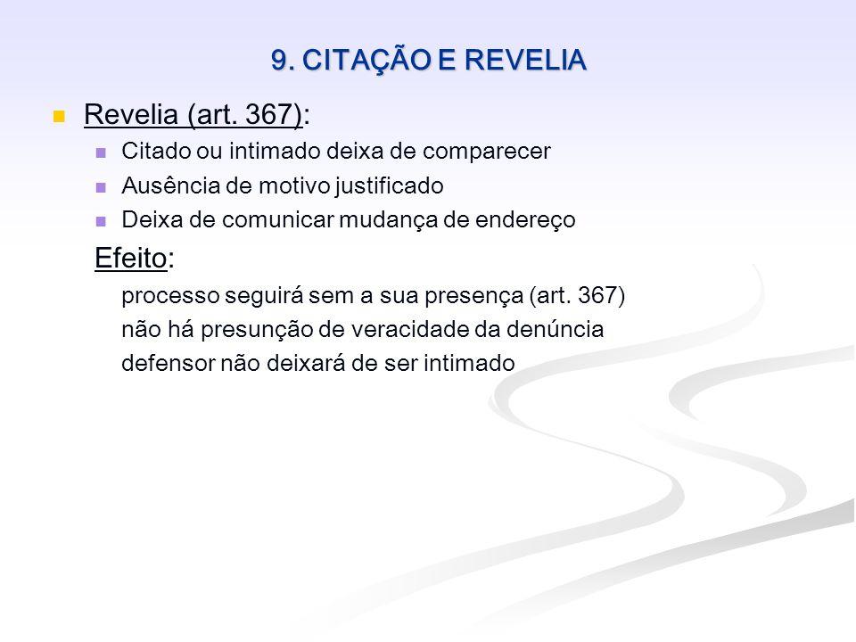 9. CITAÇÃO E REVELIA Revelia (art. 367): Citado ou intimado deixa de comparecer Ausência de motivo justificado Deixa de comunicar mudança de endereço